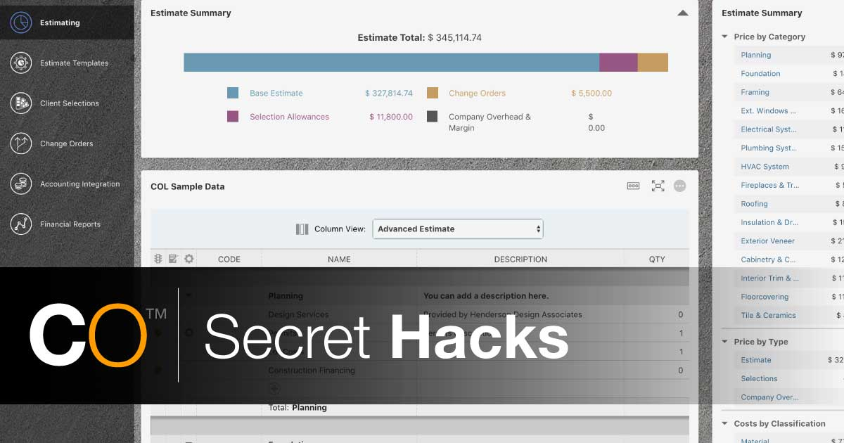 ConstructionOnline Secret Hacks: Estimate Views